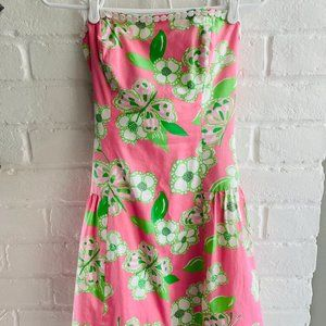 Lilly Pulitzer Green/Pink Strapless Dress